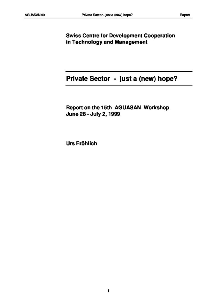Book Cover: Private Sector - Just a new hope?