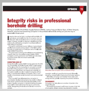 Book Cover: Integrity risks in professional borehole drilling