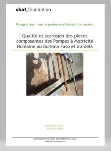 Book Cover: Qualité et corrosion des pièces composantes des Pompes à Motricité Humaine au Burkina Faso et au-delà