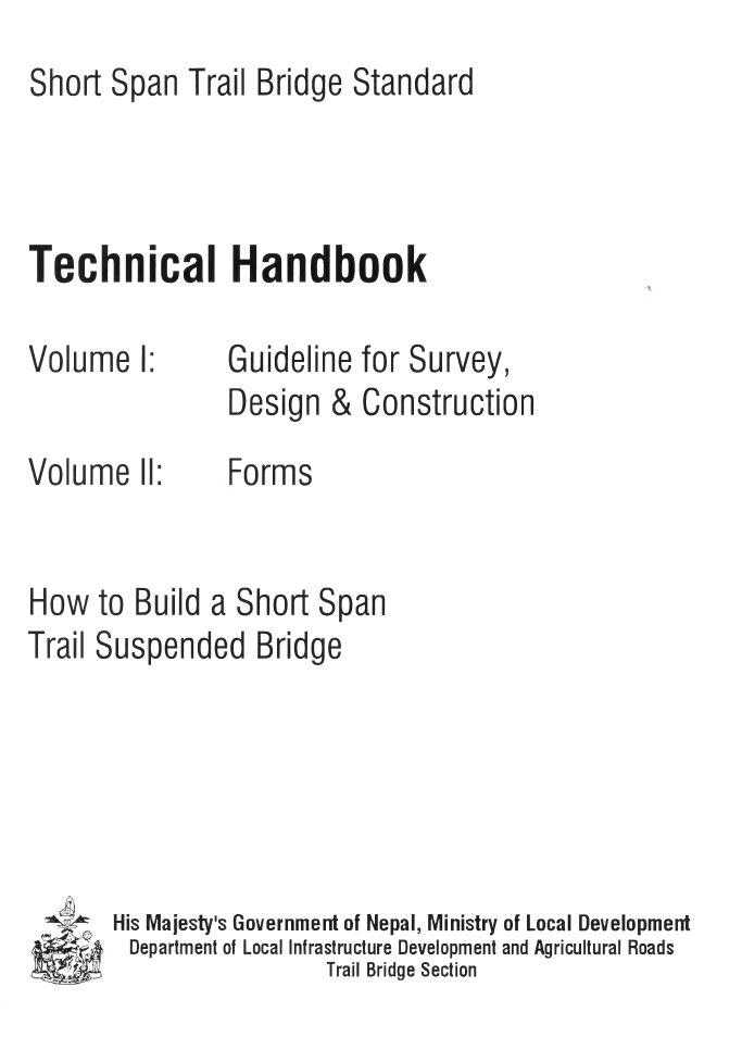 Book Cover: Short Span Trail Bridge Standarad - Technical Handbook II